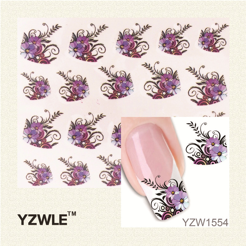 YZWLE New Arrival Water Transfer Nail Art Stickers Decal Beauty Purple Flowers Black Leaf Design Manicure Tool(China (Mainland))