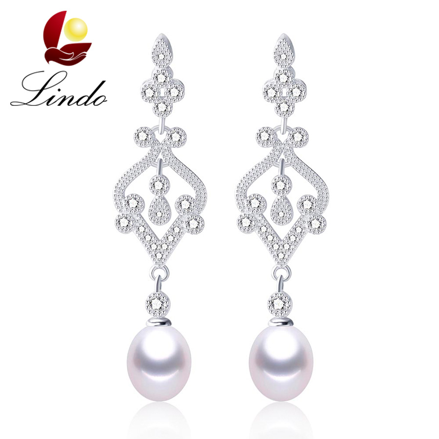100% Freshwater Pearl Crystal Rhinestone Earrings Long Fashion Jewelry Made Of Silver 925 Vintage Drop Earring woman hanging(China (Mainland))