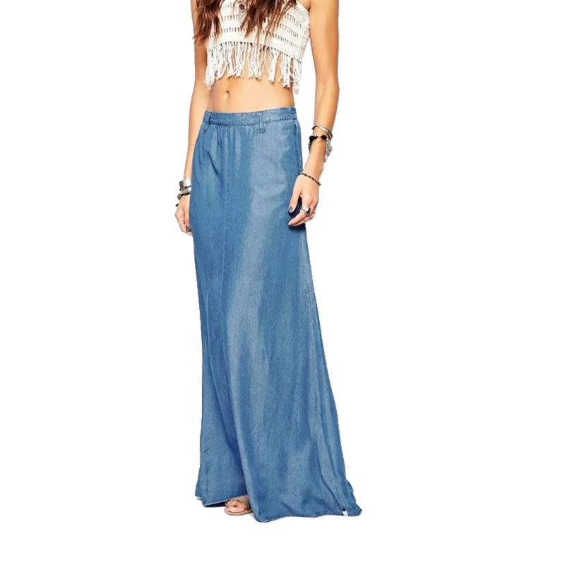 xd226 fashion 2016 vintage denim blue floor length