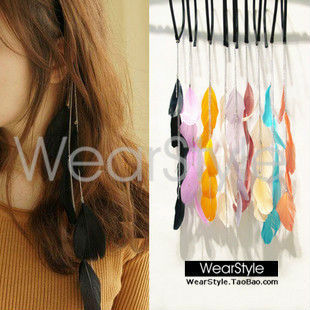 12pcs/lot flash feather hoop resin hair ornament headban band hair feathers clip in hair extensions accessories