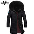 Fashion Long Mens Down Parka Korean Design Thick Winter Coat Men With Fur Hooded Solid Black