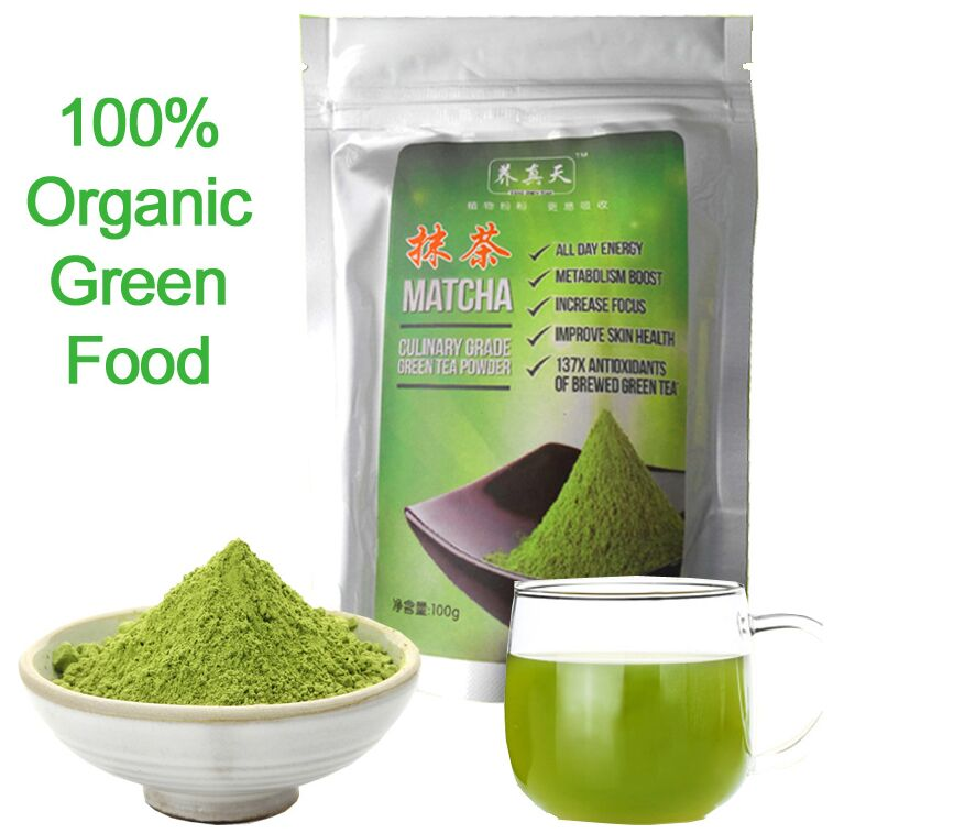 2016 New Arrival 100g Organic Matcha Green Tea Powder,Super Quality Green Tea,100% organic Green Food Slimming Tea Free Shipping(China (Mainland))