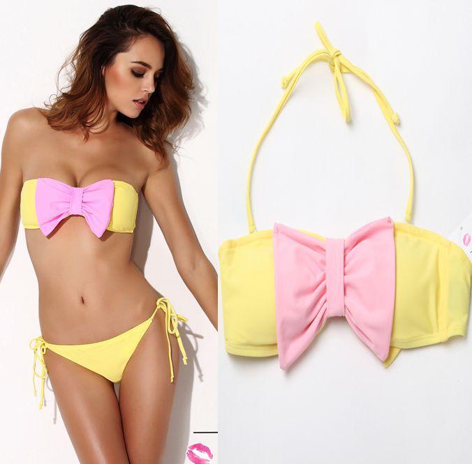2015 NEW Bow Bikini Set Cheekie Cut Yellow Monokini Bandeau Swimwear Halter Padded Blue Push Up Bandage Small Brazilian Swimsuit(China (Mainland))