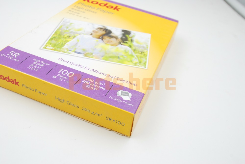 ORIGINAL NEW Kodak 5R x 100 High Gloss glossy Photo Paper 127 x 178 mm 100 sheets 200g 255 microns 10 mil for Inkjet Printer<br><br>Aliexpress
