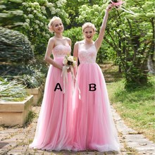 Buy Princess Pink Bridesmaid dresses V neck line Beauty Cheap Long Lace Wedding Party gowns Vestido Mae Da Noiva 2017 New style hu for $88.32 in AliExpress store
