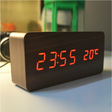 High-quality Alarm clocks with Thermometer ,wood wooden Led clocks, Digital Table Clock,electronic clocks With Cost Price(China (Mainland))
