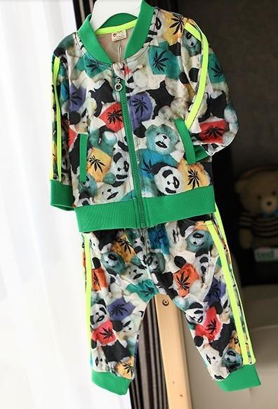 KNB child baseball clothing set fashion panda animal sportwear set children's zipper outerwear+harem pants & velvet suits Acs042(China (Mainland))