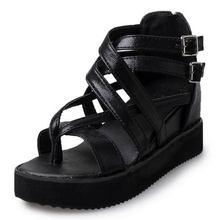 2017 Summer Female Platform Wedge Sandals Muffin bottom Cross Clip Foot Sandals Zipper Fashion High-Heeled Women Shoes(China (Mainland))
