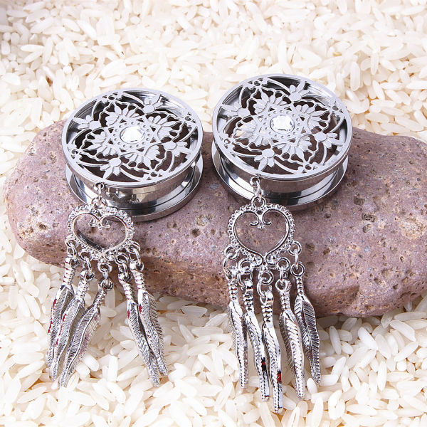 316L Stainless Steel DreamCatcher Dangle Screw Ear Plug Gauge Tunnel Body Ear Expander Earings Fashion Jewelry(China (Mainland))