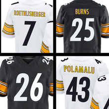 #25 Burns #43 Polamalu #7 Roethlisberger #26 White Black Elite 100% Stitched Logos Free shipping(China (Mainland))