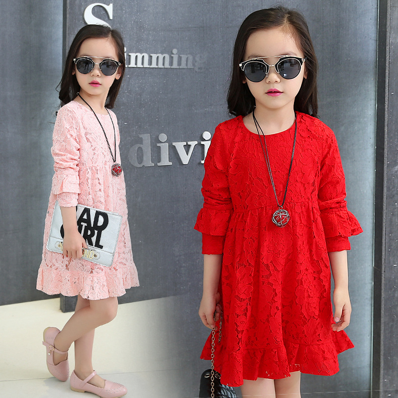 Kids Dresses For Girls Good Quality Children Clothing Spring 2016 Solid Lace Girls Party Dresses Long Sleeve O-Neck Kids Clothes<br><br>Aliexpress