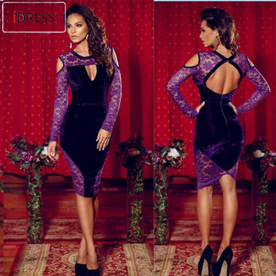 IDress 2015 Women Bandage Dress Vestido De Festa Lace Patchwork Hollow Long Sleeve Dress Summer Velvet Knee Length Purple Dress(China (Mainland))