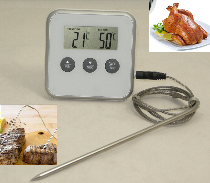 Digital Kitchen Thermometer For Food Cooking/Roasting/Frying/BBQ Grill/Meat Smoker/Oven/Milk&Water,Thermometer With Probe&TIMER(China (Mainland))