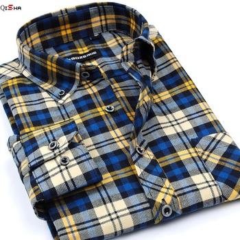 Шотландка рубашки свободного покроя сетка длинная - длинными рукавами мужские рубашки ...
