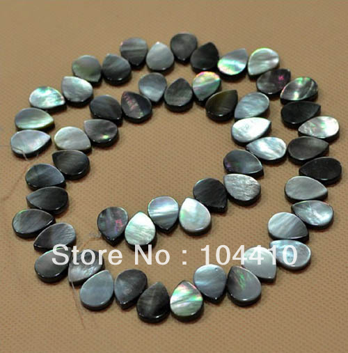 "8x10/8x12/10x14mm New Fashion Natural MOP Black Shell Flat Teardrop Loose Beads 15"" DIY Fashion Jewelry Making Beads Wholesale(China (Mainland))"
