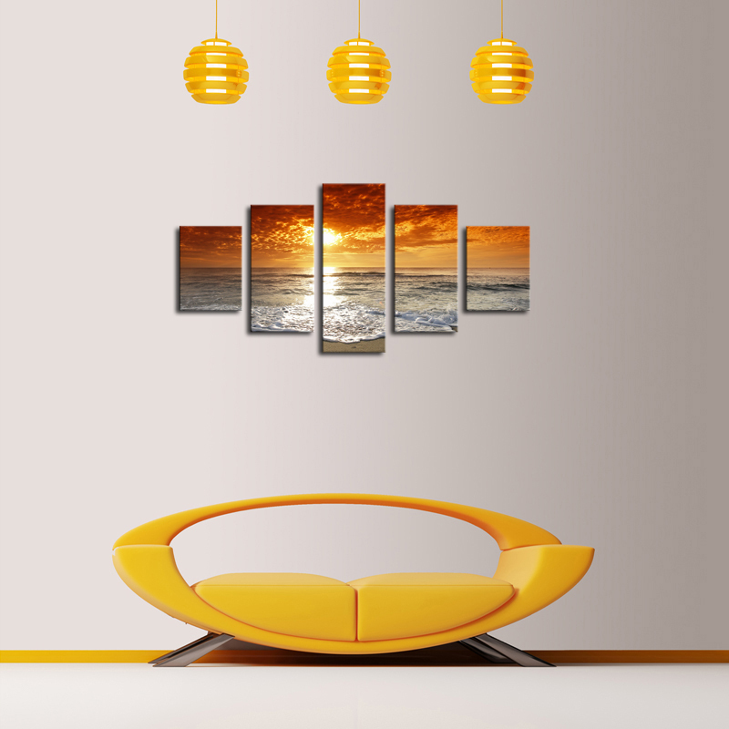 5 panels modern sea wave painting pictures home decor