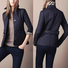 High Quality Autumn Winter Womens Vintage Plaid Slim Wadded Jacket Plus Size Cotton-padded Outerwear Coat 12 color,Free Shipping(China (Mainland))
