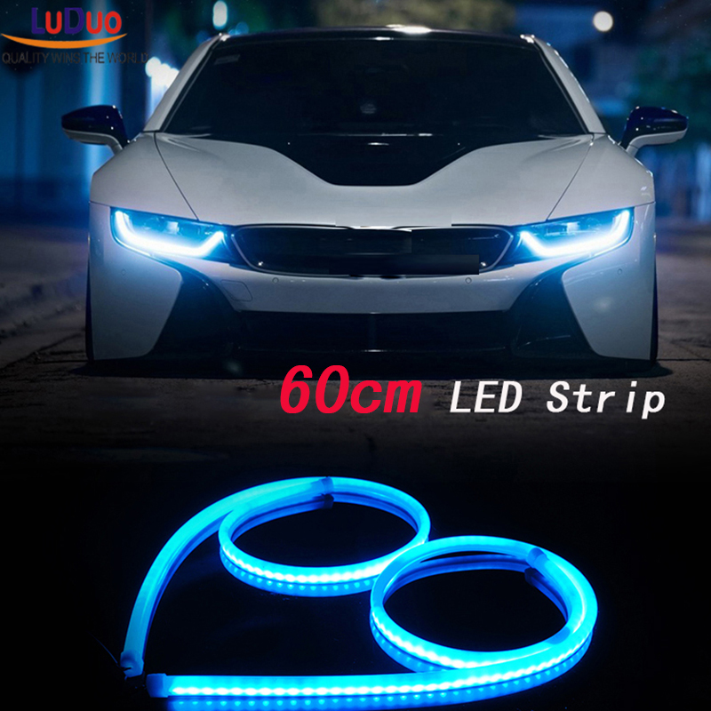 2Pcs 60cm White+Yellow Flexible led Tube Strip car-styling soft DRL Headlight Lamp Guide Car LED Daytime Daylight Running light(China (Mainland))
