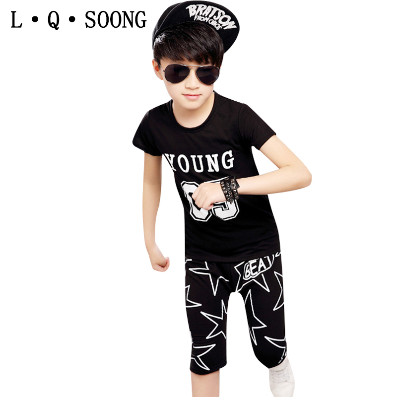 L Q SOONG Brands summer sports suit Children's clothes boy YOUNG t-shirt + star shorts Children Set boys set vetement garcon(China (Mainland))
