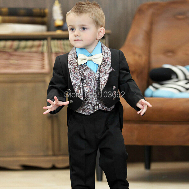 2015 Noble kids boys blazer suits 3 pieces set boys wedding clothes single breasted block color formal boys wedding suit bows<br><br>Aliexpress