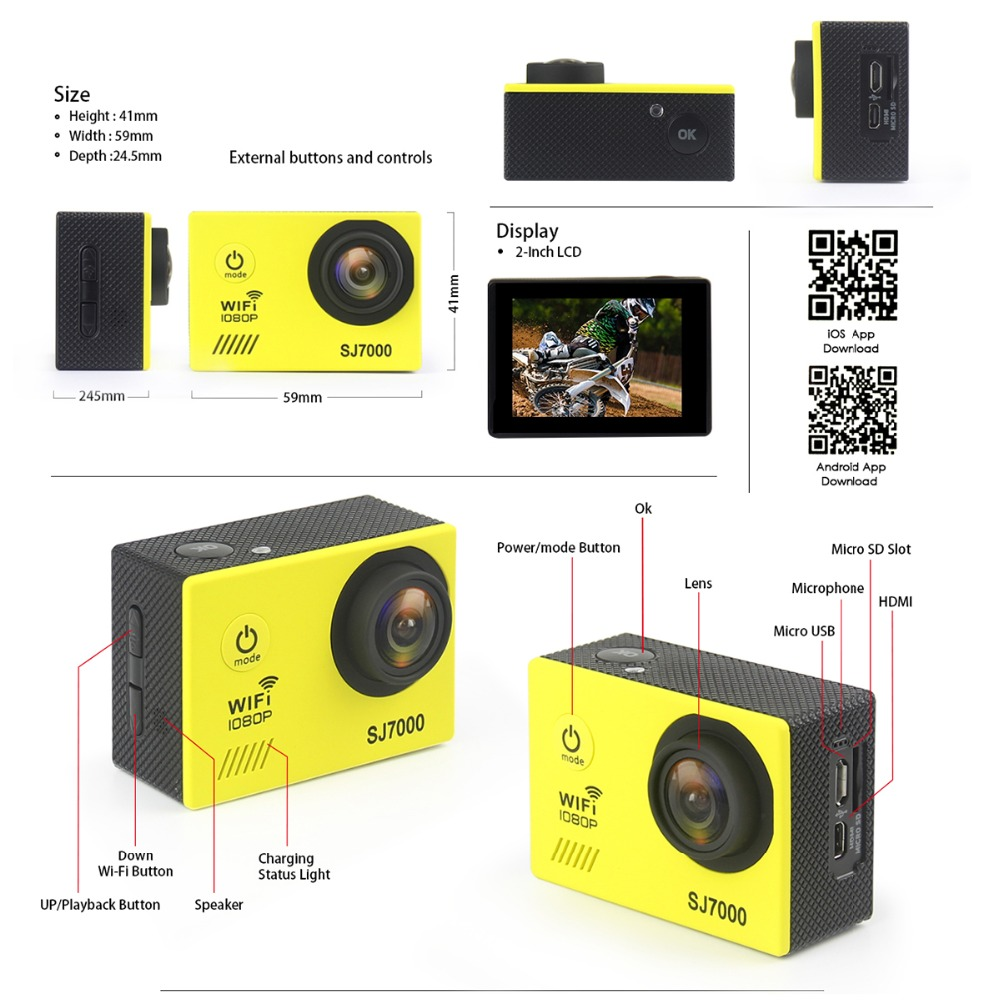 Original SJ7000 Action Camera High Quality IP68 30M Waterproof Full HD 1080P 170 Degree Lens 2