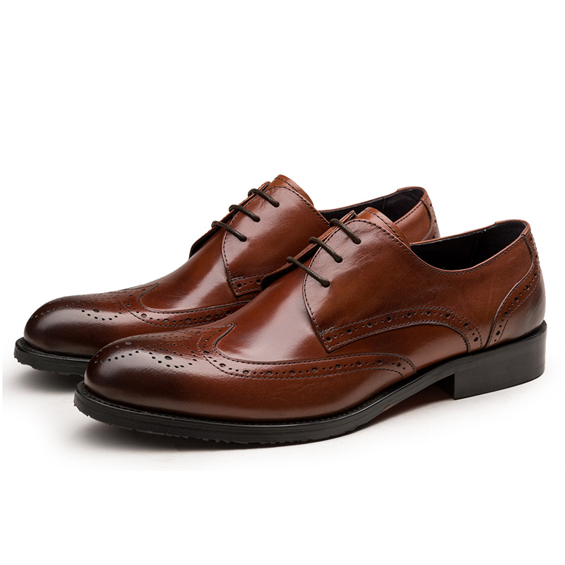 GRIMENTIN Fashion European men oxford shoes handmade luxury brand carved black genuine business leather shoes men casual flats(China (Mainland))
