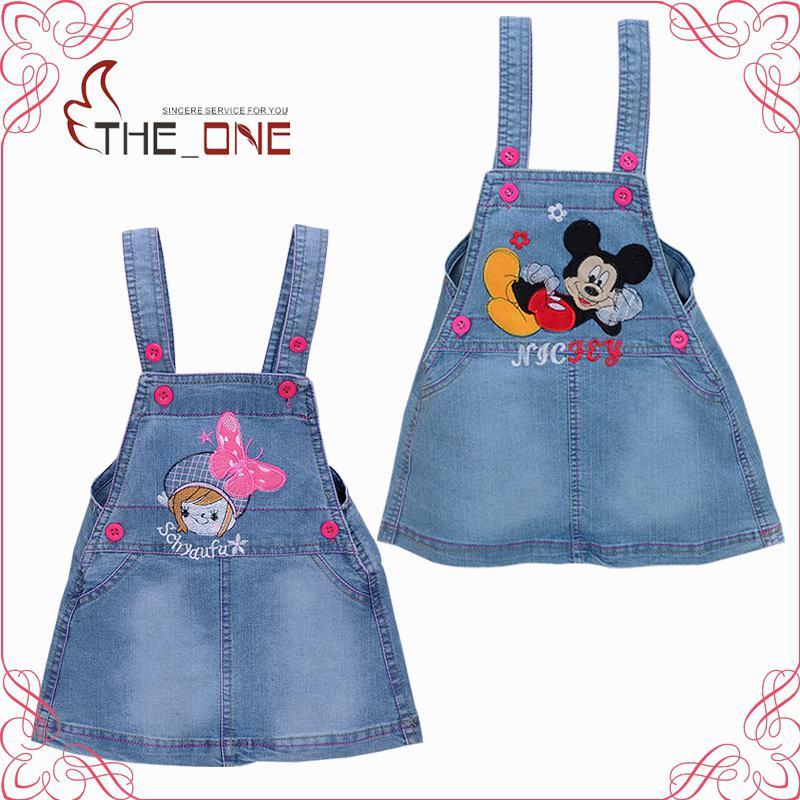 2016 1-3T Girls Mickey Hello Kitty Denim Overalls Clothes Children Kids Casual Suspenders Infantis Menina Clothing T412(China (Mainland))