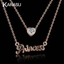 KARASU 2016 Cute Real Rose Gold Plated with CZ stone 2 Layer Chains Princess Letter Necklace for Women Jewelry(China (Mainland))