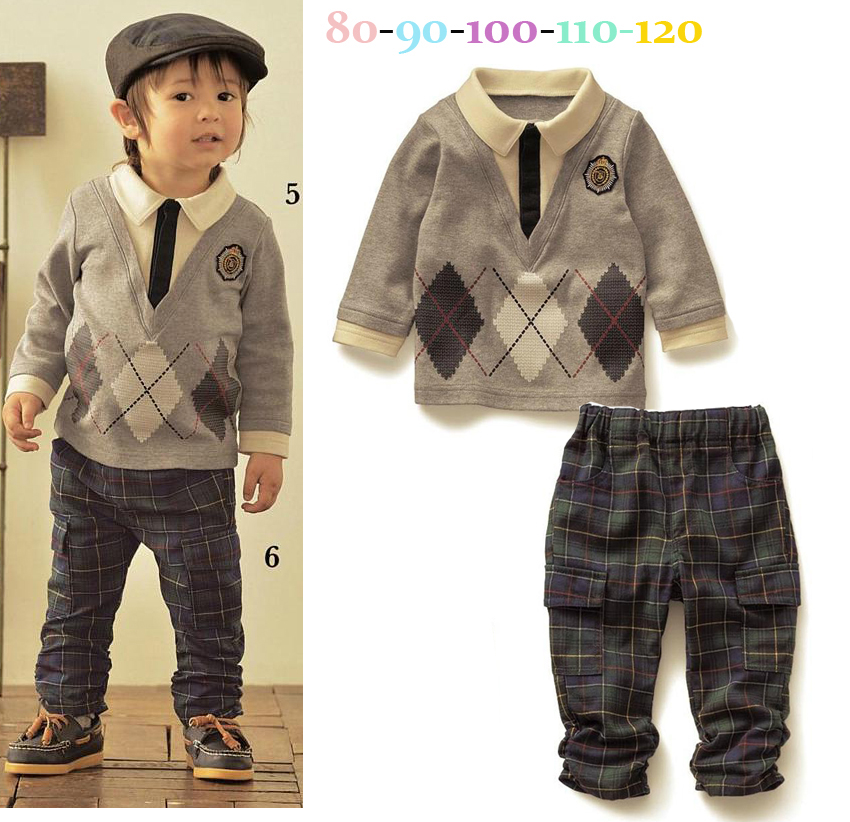 2014 new fashion autumn new childrens cotton long sleeve top +plaid trousers set lovely kid boys casual suit free shipping<br><br>Aliexpress