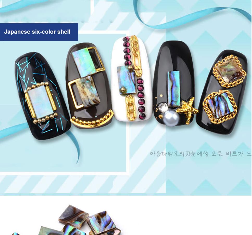 10 Pcs Japanese Nail Art Rhinestones Abalone Slice Colorful Strip The Wet Brush Gemstone 3 Fashionable Stylish