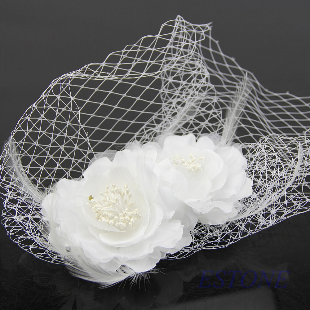 Free shipping Women Bridal Birdcage Head Wear Veil Fascinator White Feather Flower With Comb(China (Mainland))