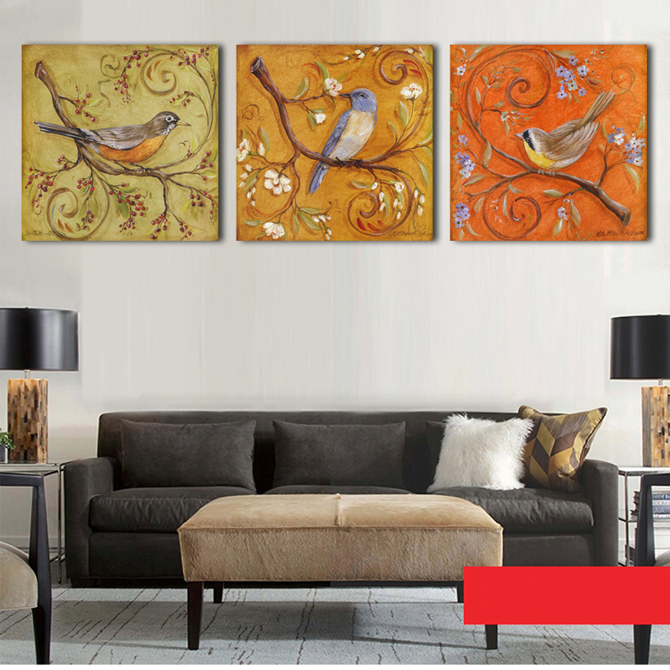 3 panel printed modern birds painting canvas wall art for Bird wall art