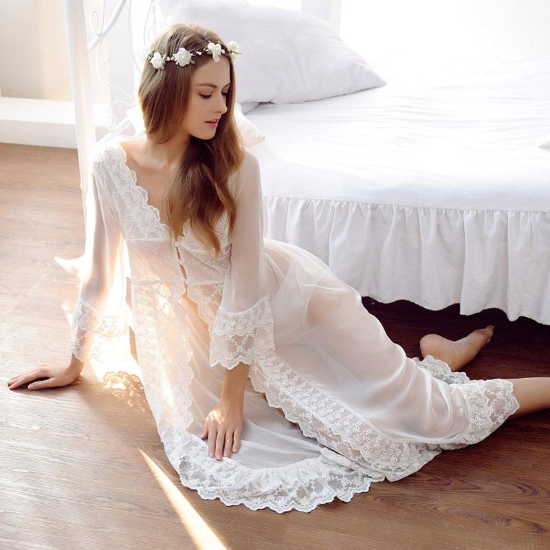 Lace white wedding robe lingerie dreams bridal sleepwear for Lingerie de mariage pour sous robe