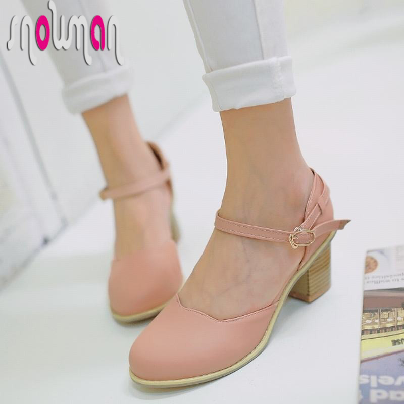 Big Size 31-43 Women Shoes Casual Shoes Woman 2016 Brand Ankle Strap Buckle Strap Women Pumps Square Med Heels Round Toe Pumps<br><br>Aliexpress