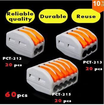 60 PCS )Wago type PCT-212 213 215 20pcs 2P + 20pcs 3P + 20pcs 5P Universal Compact Wire Connector Conductor Terminal Block