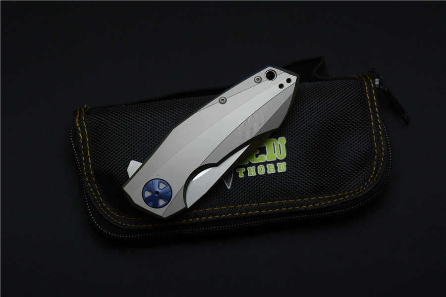 Buy Green thorn zt0456 flip folding knife bearing D2 blade titanium handle outdoor camping hunting tools cheap