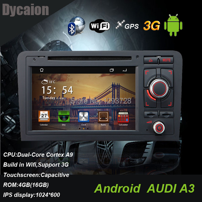 Car DVD for Audi A3 GPS Navigation/with Radio RDS SWC TV BT USB/3G WIFI Canbus DVB-T(China (Mainland))