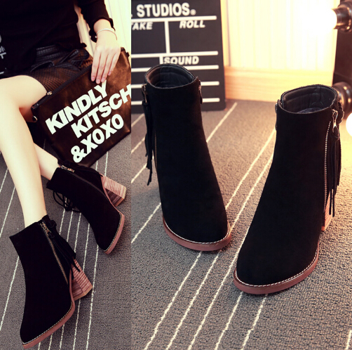Здесь можно купить  Choke a small pepper gray high heelsuede leather boots women Martin boots naked boots single women boots autumn winter shoes  Обувь
