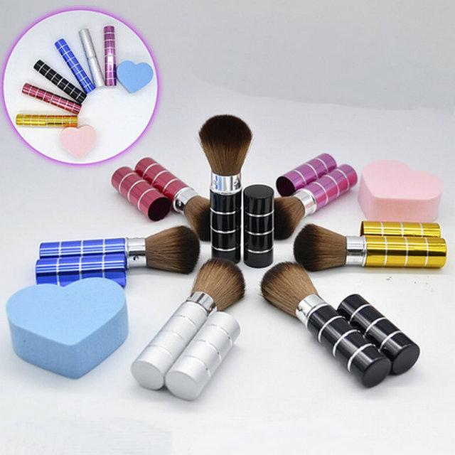 6-ти цветные регулируемые, выдвижные кисти Kabuki для макияжа и нанесения румян.