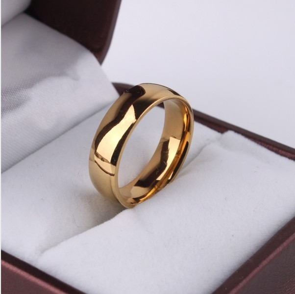 Never fading 18K rose Gold Plated 6mm Brand Rings For Women men Wedding lovers Rings Rose Gold Fine jewelry(Hong Kong)
