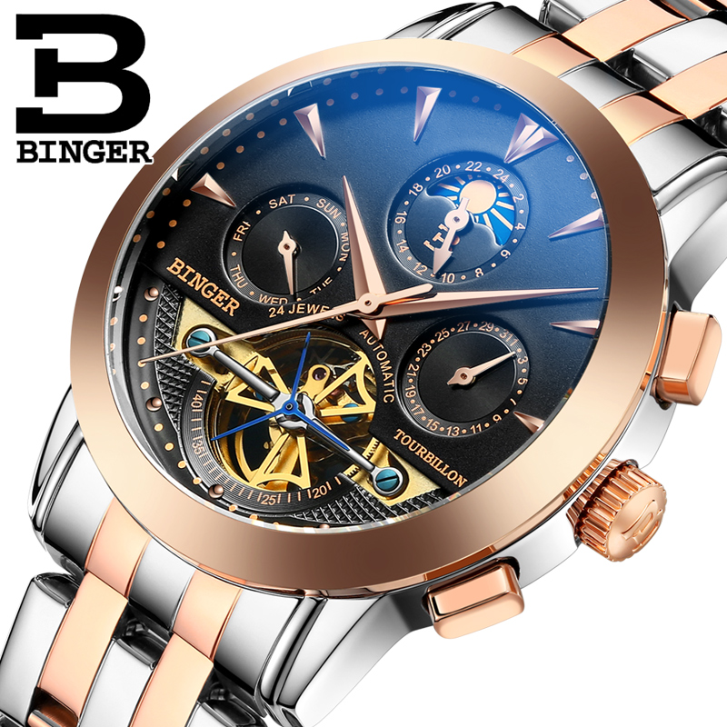 Genuine Swiss BINGER Brand Men full steel automatic mechanical male self-wind double openwork fashion Tourbillon watch(China (Mainland))