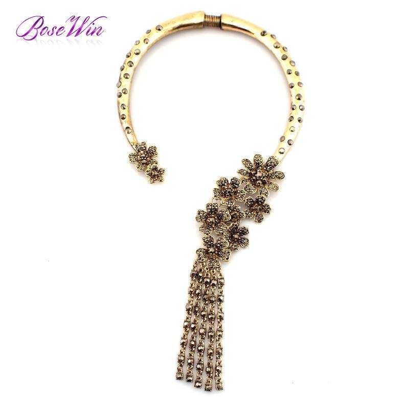2015 старинные ювелирный сплав инкрустация самоцветы крутящий момент колье роскошный цветок длинные стразами кисти ожерелье женщины заявление ожерелья