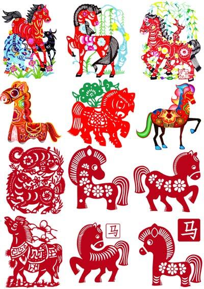 Horse Paper Cut Scrapbooking Heat Transfer Paper Sticker