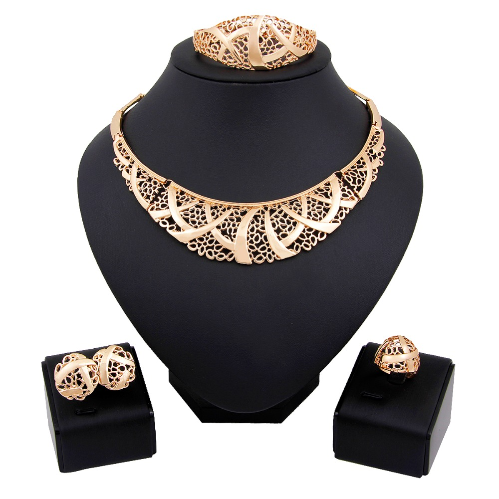 New Arrival Trend African Classic Women Jewelry 18K Gold Necklace Earrings Bracelets Ring Sets Wedding Jewelry Set