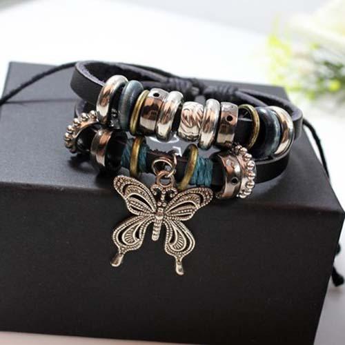 Min.order is $10 Charm Leather Bracelet Star Favorite Beaded Bracelet Punk Leather Bracelet Newest Warp Shamballa Bracelet(China (Mainland))