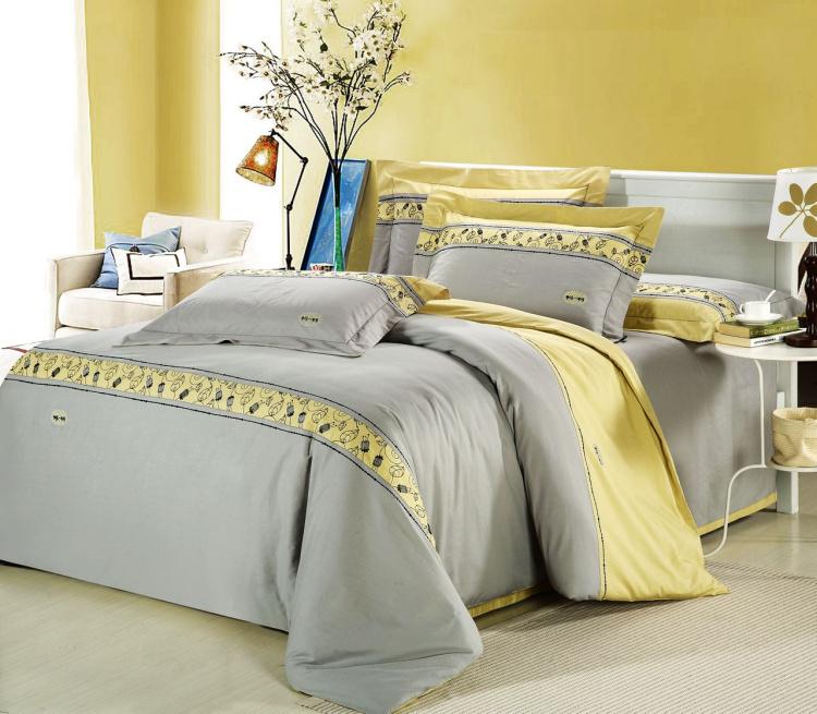 Дизайнер постельное домашний текстиль 100% хлопок мужской черный и белый в полоску одеяло 4piece набор вышитые постельные принадлежности деятельность