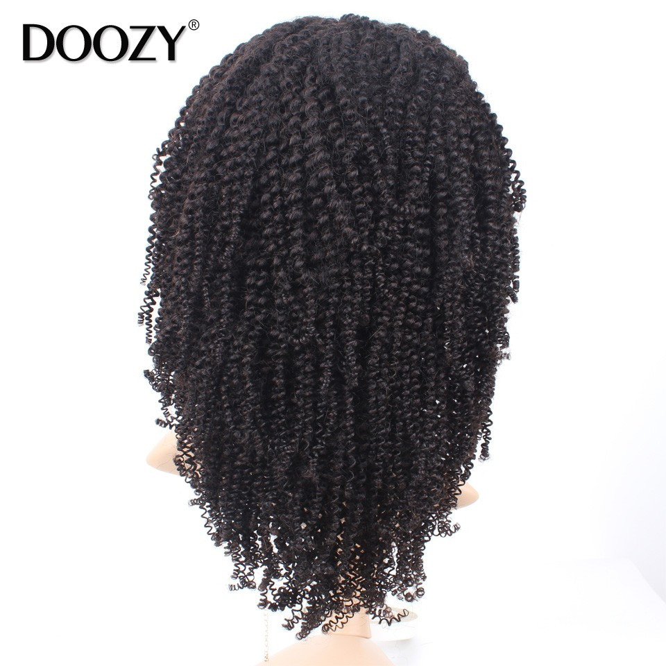 Doozy 7A afro kinky curly full lace wigs brazilian virgin human hair black women glueless lace front wig cheap