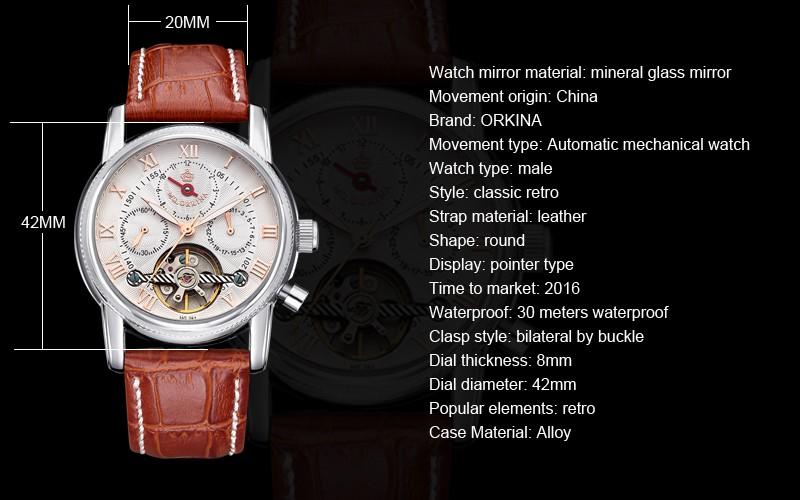 НОВЫЙ ORKINA марка пояс автоматические механические часы fashion бизнес стол водонепроницаемый мужчины часы 2016 люксовый бренд