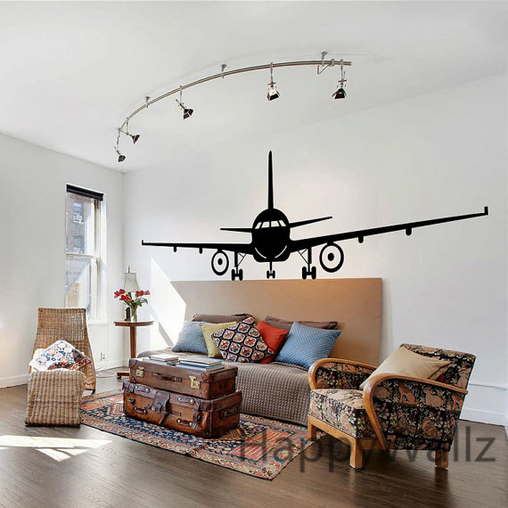 3d airplane wall stickers muraux wall decor airplane wall art decal decoration vinyl stickers. Black Bedroom Furniture Sets. Home Design Ideas