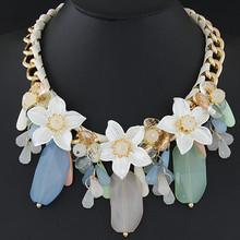 Moda joyería famosa marca collar mujeres flor Collares y colgantes chapados en oro Collares Maxi accesorios collar Vintage(China (Mainland))
